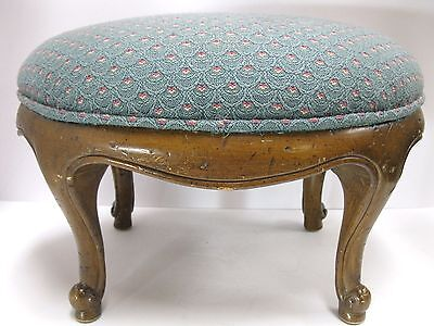 Vintage French Louis Style Stool Footstool Walnut Wood Stampinsisters