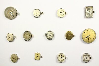 Lot of 13 Watch Movements for Parts / Repair