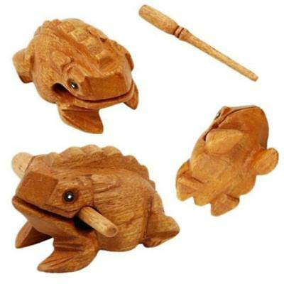 1 X Frog Carved Thai Wooden Croaking Musical Sound Vintage Toy Gift Art Decor S