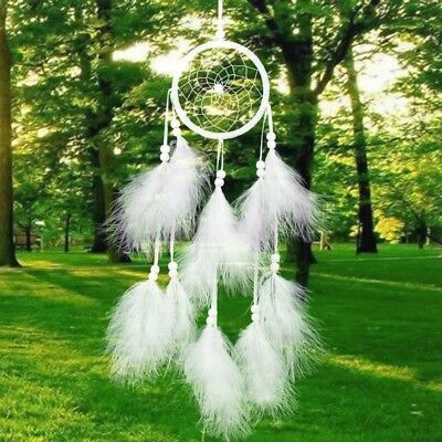 Handmade Dream Catcher with Feather Wall Car Hanging Decor Ornament White
