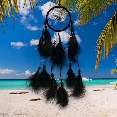 Handmade Dream Catcher with Feather Wall Car Hanging Decor Ornament Black