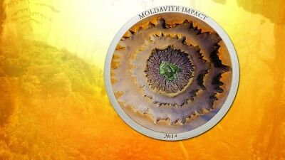 2014 MOLDAVITE METEORITE IMPACT $5 Cook Islands 1oz 999 SILVER COIN