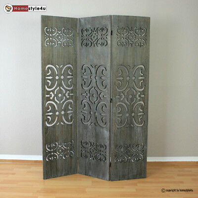 3 part room divider wood Paravent screen in grey washed with Wood carving