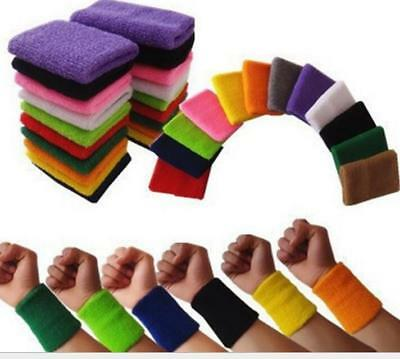 Cotton Sweatband Wristbands Sweat Wrist Cuff Basketball Tennis Gym Yoga Sport