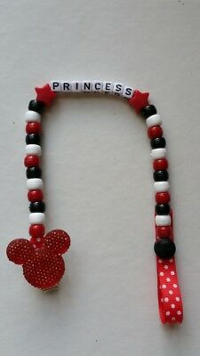 Baby Boy/girl  Red Bling Minnie Or Mickey Mouse Personalised Dummy Holder Clip