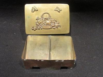 Art Deco Style Vintage Brass 2 Sectioned Stamp Box with applied ornaments