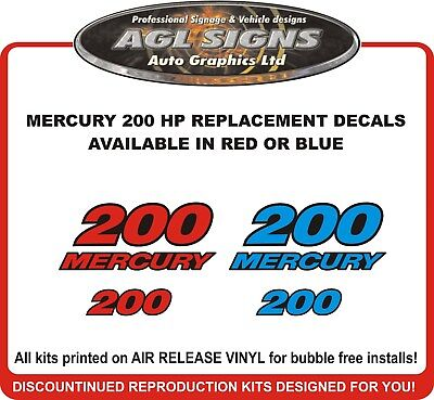 MERCURY 200 HP outboard  Replacement Decals  Reproductions  Red or Blue