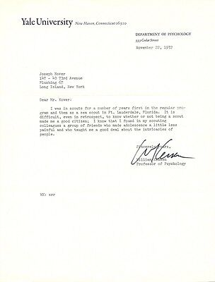 Psychologist WILLIAM KESSEN Signed Letter