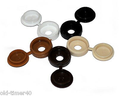 50 x PLASTIC HINGED SCREW COVER CAPS M3.5 & M4 Screws White Beige Brown Black