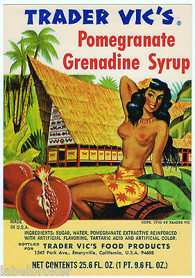 Genuine Bottle Label Vintage Pin Up Hawaii Aloha Honolulu 1960S Trader Vic's