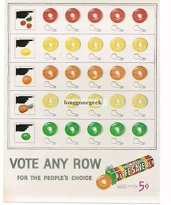 1956 Life Savers Vote for any color art Vtg Ad