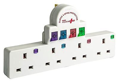 4 Way Surge and Spike Protected Switched Plug-In Adapter Socket Extension