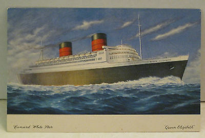 Queen Elizabeth Passenger Ship Cunard White Star 83,673 tons 1940 Postcard
