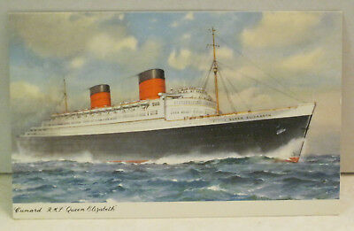 RMS Queen Elizabeth Passenger Ship Cunard White Star 83,673 tons 1941 Postcard
