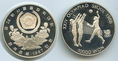 G0312 Südkorea 10.000 Won 1987 KM#63 Silber PROOF Olympia Seoul 1988 Volleyball