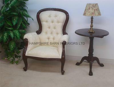 Antique Replica Mahogany & Cream Fabric Victorian Chair Ornate Hand Carved Arm