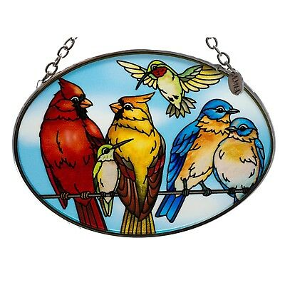 """On Line Dating"" Bird Suncatcher Hand Painted Glass By AMIA Studios 4.5"" x 3.25"""
