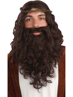 Mens Biblical Jesus Costume Accessory Set With Brown Wig Beard Moustache Crown