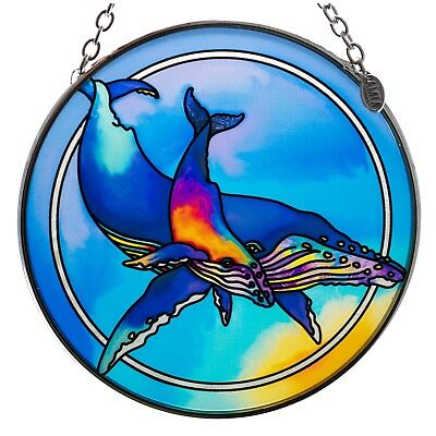 """""""Whales"""" Suncatcher Hand Painted Glass By AMIA Studios 4.5"""" New!"""