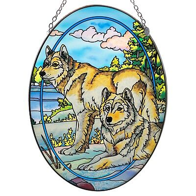 """Watchful Pause"" Wolf Suncatcher Hand Painted Glass By AMIA Studios 8.75"" x 6.5"""