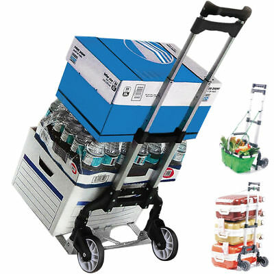 170 lbs Black Folding Aluminium Cart Luggage Trolley Hand Truck with Bungee Cord