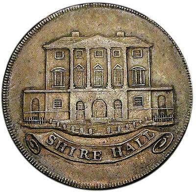Chelmsford (Essex) Copper Conder Halfpenny token 1794 VF/XF Shire Hall
