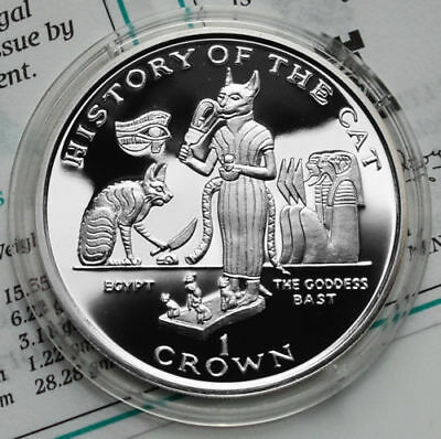 ISLE OF MAN 1 Crown 1997 Silver PF Egypt & The Goddess Bast - HISTORY OF THE CAT