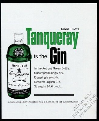 1964 Tanqueray Gin classic green bottle photo vintage print ad
