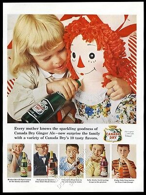 1956 Raggedy Ann and girl photo Canada Dry ginger ale vintage print ad