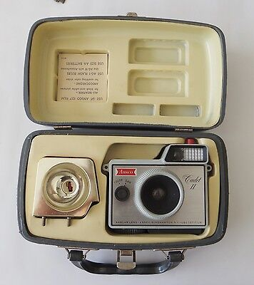 Vintage Ansco Cadet II Camera and Flash in Case