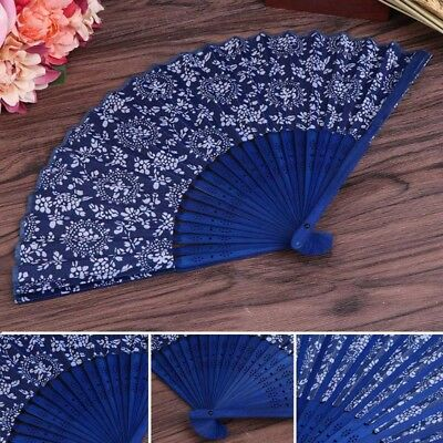 Chinese Summer Folding Hand Fan Fabric Flower Floral Wedding Party Favor Gift
