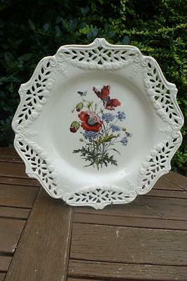 Royal Creamware Pierced Work Plate L/E Poppies By Paul Jerrard