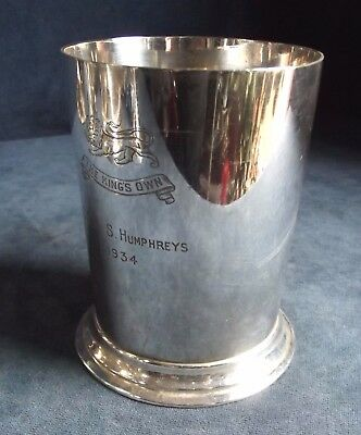 SUPERB ~ KINGS OWN Regiment ~ SILVER Plated ~ Pint TANKARD ~ c1930s
