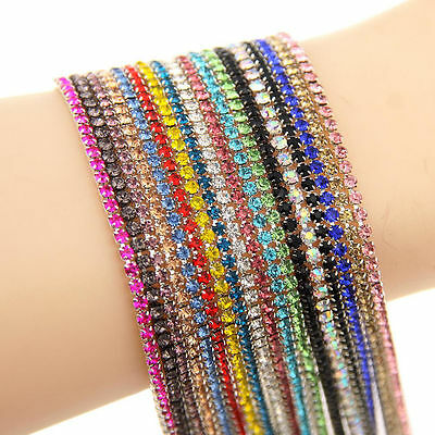1m Single Row Strass Glass Crystal Rhinestones Diamante Claw Cup Chain Trims DIY