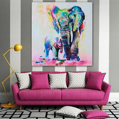 Hand-painted Canvas Oil Painting Abstract Wall Art Decor Elephant No Frame