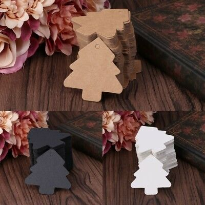 100Pcs Christmas Tree Shape Blank Kraft Paper Card Hang Tag Party Wedding Craft