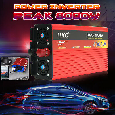 UKC 4000W/8000W(Peak) Modified Sine Wave Power Inverter 12V 220V Car Caravan HOT