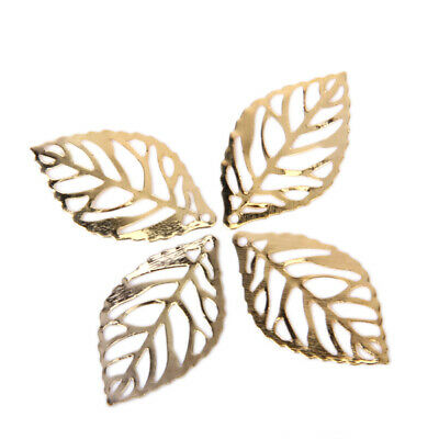 100 Pieces Filigree Leaf Hollow Pendant Connector Jewelry Necklace DIY Crafts