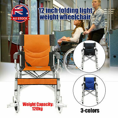 Folding Wheelchair Transport Mobility Aid Park 4 Brakes Push Armrest Steel AU