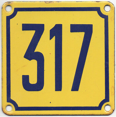 Old French house number 317 door gate wall plate plaque enamel steel metal sign