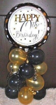 Foil Balloon Table Decoration Display Happy 70Th Birthday Black Gold