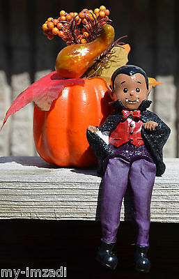 "Custom Painted AA CUTE HALLOWEEN VAMPIRE CHILD 7"" Shelf Sitter Figure Black Drac"