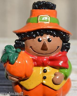 Custom Painted AA CUTE HALLOWEEN PUMPKIN SCARECROW Shelf Sitter Figure Black