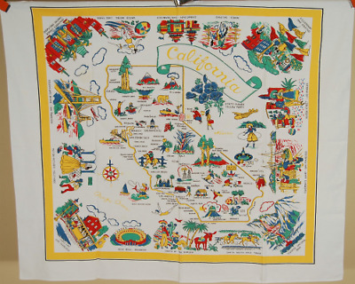 Vintage CALIFORNIA State Map Souvenir Tablecloth, Nice Colors ~BEST OF KIND!