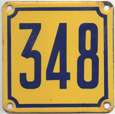 Old French house number 348 door gate wall plate plaque enamel steel metal sign