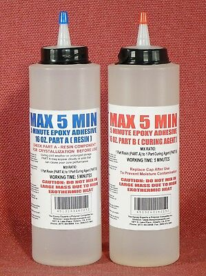 5 MINUTE GLUE EPOXY ADHESIVE FAST SET TOUGHENED LOW COST FREE DISPENSE CAP 32oz*
