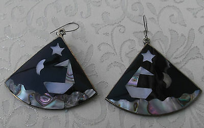 Mexican Silver Abalone/Mother of Pearl  Night Seascape  Dropper Earrings