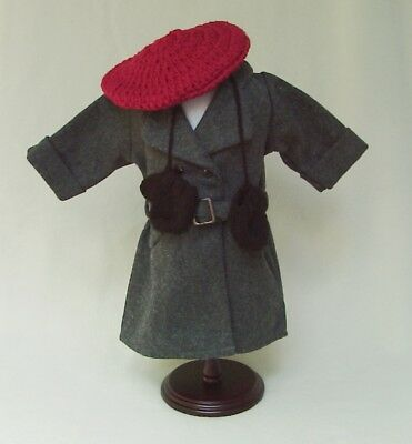 "American Girl 18"" KIT Retired GRAY BELTED WINTER COAT REPRO w BERET and MITTENS"