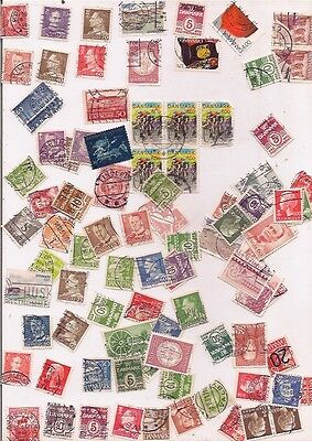 94 DENMARK stamps on paper.