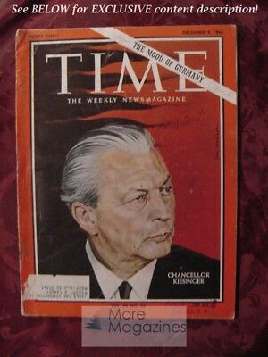 TIME December 9 1966 Dec 12/9/66 GERMANY CHANCELLOR GEORG KIESINGER +
